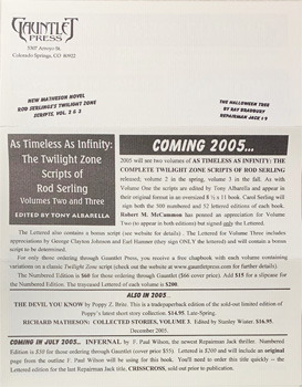 Gauntlet Press News 2005